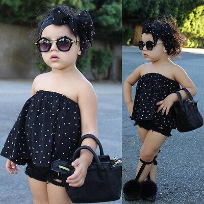 3PCS Toddler Kids Baby Girl Off Shoulder Tops+Denim Shorts Pants+Headband Outfit