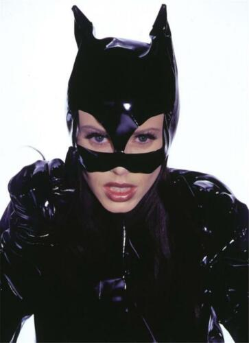 WOMENS CAT WOMAN KITTY SHINY BLACK VINYL HALF MASK WITH EARS COSTUME AB108
