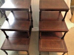Image Is Loading Pair Of 3 Tier Mahogany Step End Tables