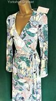 New MONSOON Grey Pink Green Floral THEA Knee Length Jersey WRAP DRESS 8 10 12 14