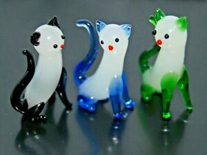 Miniature Animal Art Glass:  Hand-Crafted Figurines THREE Cats Sitting