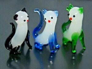 Miniature Animal Art Glass:  Hand-Crafted Figurines THREE Cats Sitting