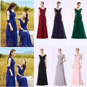 Womens-Long-Formal-Dresses-Cap-Sleeve-Prom-Ball-Gown-V-neck-Evening-Dresses