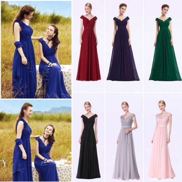 Womens Long Formal Dresses Cap Sleeve Prom Ball Gown V-neck Evening Dresses