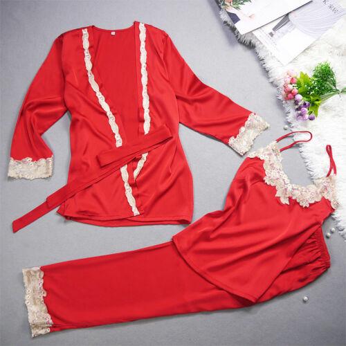 Neu Luxuriös Seide Damen Set 3 Rot Schlafanzug ladpj203