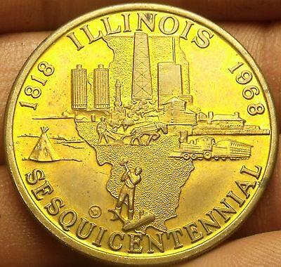1918-1968    Illinois Sesquicentennial BRONZE Medal