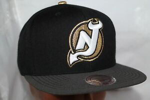 New-Jersey-Devils-Mitchell-amp-Ness-NHL-Solid-Black-SnapBack-Hat-cap-36-00-NEW