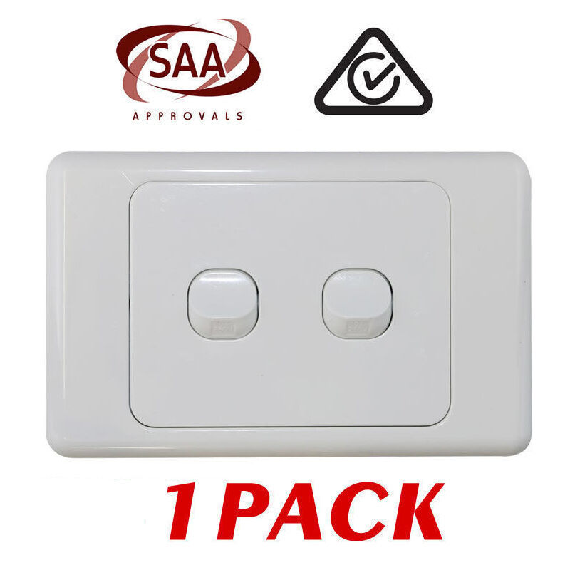 1 X 2 Gang Double Wall Switch - 2 Way Switching - Electrical Light Switch