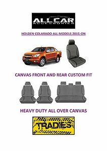 Canvas-Car-Seat-Covers-Front-amp-Rear-Custom-Fit-Holden-Colarado-Dual-Cab-2015-On