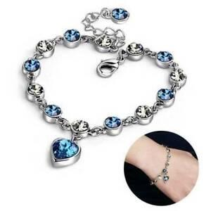 Luxury-Women-925-Silver-Chain-Bracelet-Heart-Rhinestone-Crystal-Bangle-Jewelry