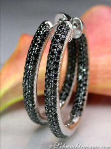 Vom-Feinsten-Ovale-schwarze-Diamanten-Creolen-5-32-ct-Weissgold-585-ab-6-200