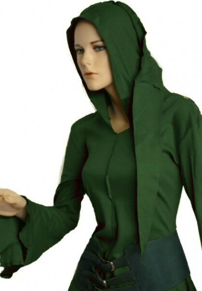 Gothic Mittelalter Goa Psy Zipfel Shirt Jacke Hoodie Top grün 36 38 S M Neu