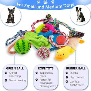 12-DOG-TOYS-PUPPY-ROPE-TEETHING-CHEW-PLAYTIME-AND-TEETH-CLEANING-COTTON-ROPE