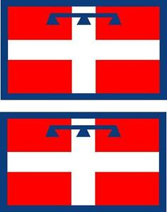 2x-Adhesivo-adesivi-pegatina-sticker-vinilo-bandera-vinyl-italia-piamonte
