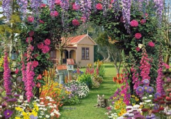Wentworth Puzzle 250 Piece Wooden Cottage Garden Wood Floral Flowers Jigsaw