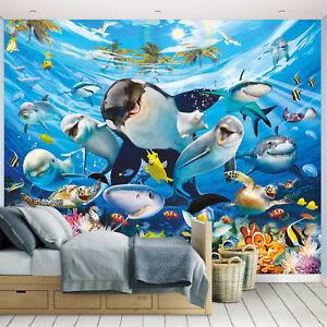 Details zu Fototapete Tapete Kinderzimmer Kinder Wandbild Fische Delfin  Unterwasser Meer