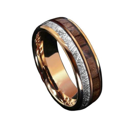 8mm Rose Gold Dome Tungsten Ring Silver Koa Wood Inlay ATOP Men Bridal Jewe N9C6