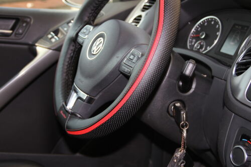 Red PVC Leather Steering Wheel Wrap Cover w// Needle Thread DIY Audi BMW Black