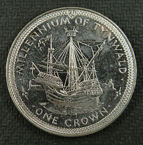 Isle-Of-Man-Crown-1979-Millennium-of-Tynwald-English-cog-Castle-Rushen