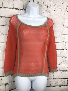 ANTHROPOLOGIE-Trouve-Orange-Beige-Mesh-Long-Sleeve-Tunic-Sweater-Sheer-Top-S