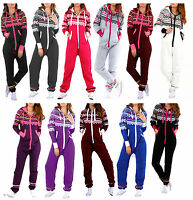 Womens Adult Ladies NEW Aztec Printed Hooded Onesie Zip Up All in One Jumpsuit