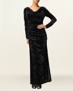 Phase-Eight-Womens-Dolores-Black-Crushed-Velvet-Long-Fitted-Party-Evening-Dress