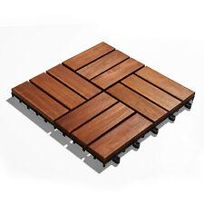 10er Set Akazienholz Terrassenfliesen 30x30 cm Stecksystem, braun