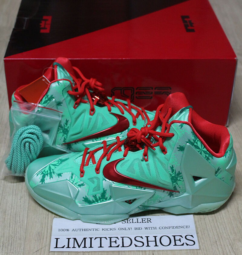 NIKE LEBRON XI 11 CHRISTMAS GREEN GLOW 616175-301 US 11.5 SIZE all star what the