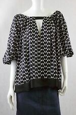 DIANE VON FURSTENBERG Black & White Spade pattern 100% Silk Blouse Size Medium