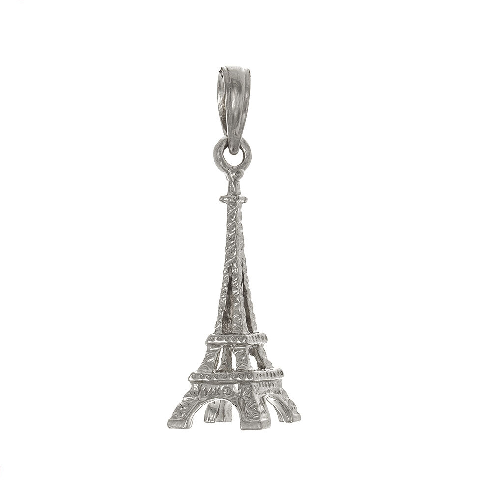 14k White gold 3D French Eiffel Tower Paris Charm Pendant, 1.4g