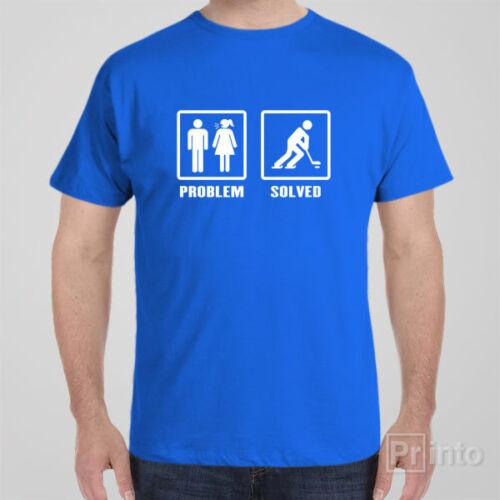 AIHL gift idea for men ice hockey Funny T-shirt PROBLEM HOCKEY NHL SOLVED