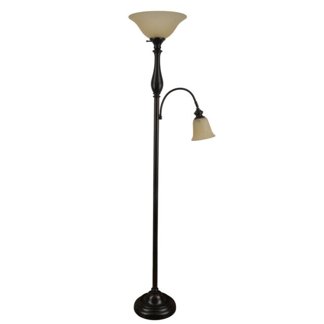 Floor Lamp Glass Shade Torchiere Reading Light Dark Oil Rubbed Bronze 72 Inch