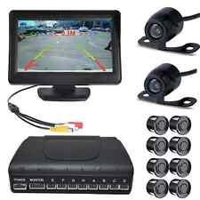 "4.3"" LCD Monitor +Front Reverse Camera +8 Parking Sensor Car Front Rear View Kit"