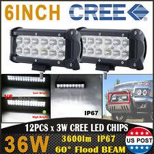 "2x 6""inch 36W CREE LED Work Light Bar Flood/Spot Offroad SUV ATV Driving UTE SUV"