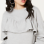 ⭐️Material Girl Juniors' Ruffled Long-Sleeve Sweatshirt⭐️ Grey Large MSRP $44.5