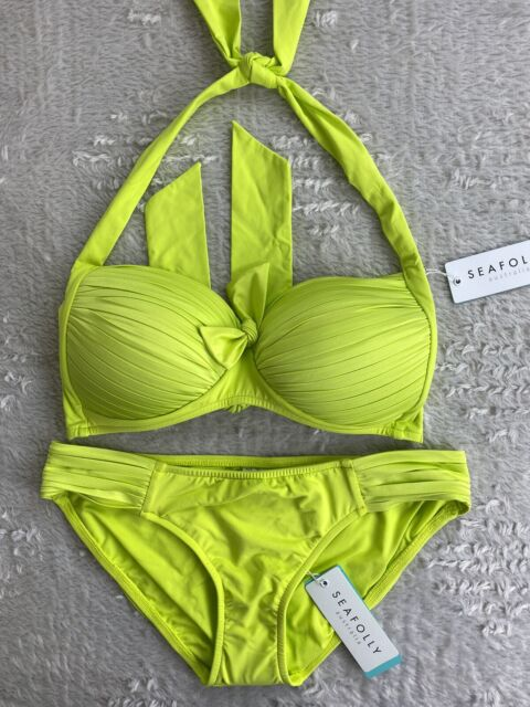 NEW Seafolly Soft Cup Halter Top Pleated Hipster Bottom Bikini Set Chartreuse 12