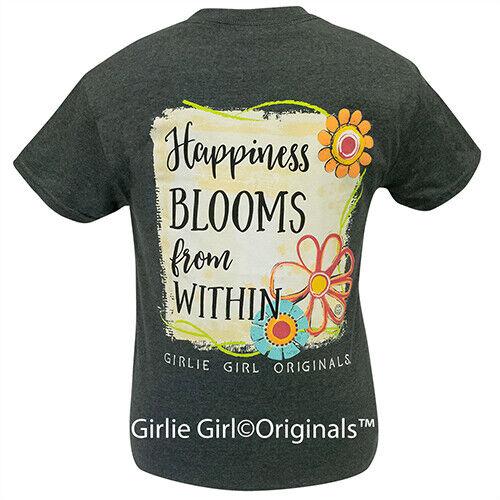 Girlie Girl Originals Tees Happiness Blooms Dark Heather Short Sleeve T-Shirt - 2165
