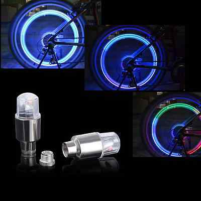 2x Wheel LED Lamp Car Moto Bike Wheel Glow Tire Valve Cap Neon Light Colorful KY