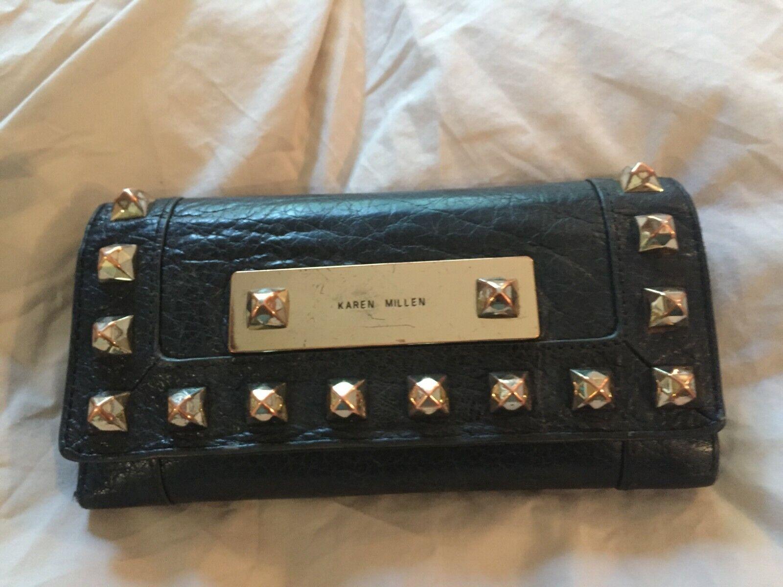KAREN MILLEN black leather purse wallet with studs pre loved