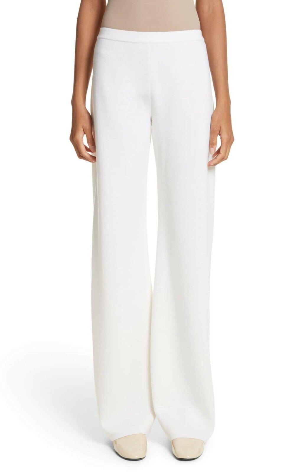MAX MARA Cream White Pure Wool Knit BRANDO Relaxed Fit Wide Leg Pants L 10 12