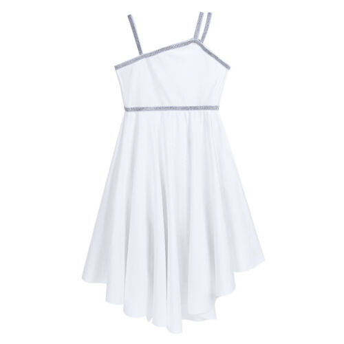 Kids Girls Ballet Lyrical Dance Dress Irregular High-low Skirt Modern Dancewear