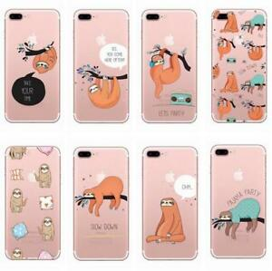 Sloth-Cute-Animal-Soft-TPU-Painting-Phone-Case-Cover-For-iPhone-X-5-6s-7-8-plus