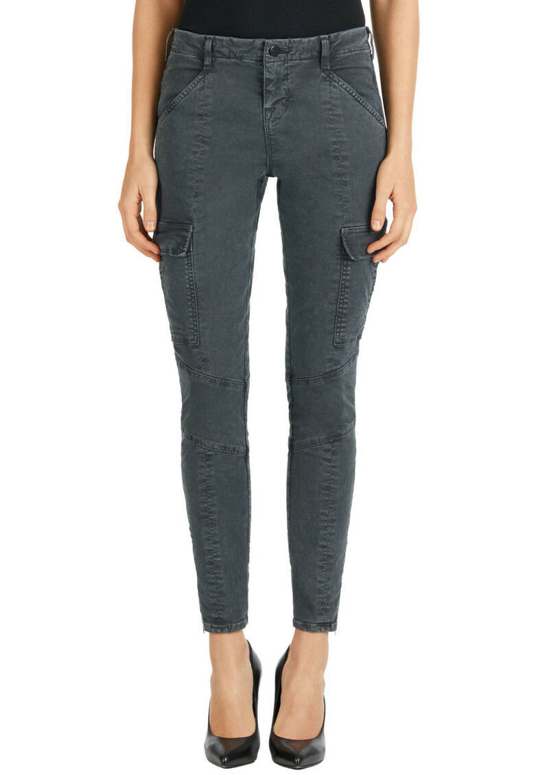 NEW J Brand Houlihan Mid-Rise Skinny Cargo Crop in Distressed Chrome - 25