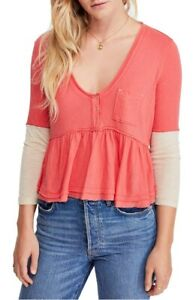 We-The-Free-By-Free-People-Womens-Heart-Of-Mine-Blouse-Camelia-Pink-Size-S
