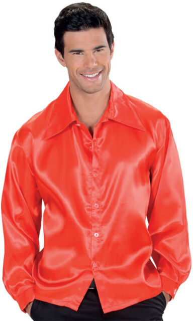 anni '70anni '70 satinhemd Rosso NUOVO - uomo Carnevale Travestimento Costume