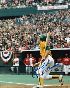 JOE RUDI  OAKLAND A'S  1972 WS CHAMPS   ACTION SIGNED 8x10