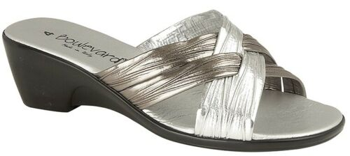 LADIES MULE Wedge Crossover Padded Sandals Black Gold Silver  Size 3 4 5 6 7 8