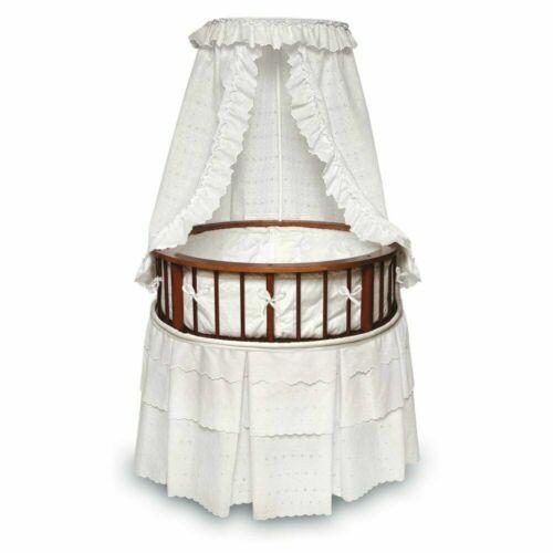 Badger Basket Round Cherry Bassinet With White Eyelet          916