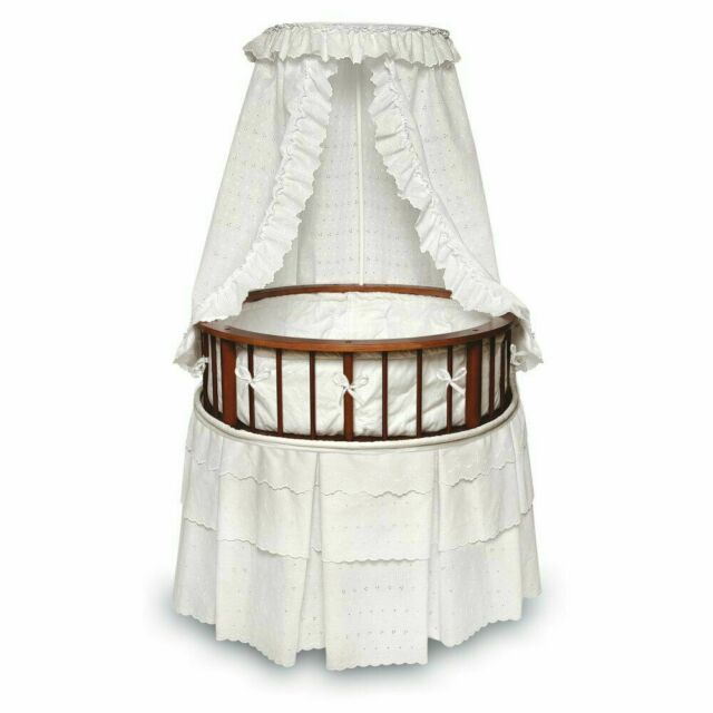 Badger Basket Company Empress Round Baby Bassinet White//Gingham