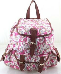 bb88a8e3f3 Image is loading Ladies-Girls-Pink-Canvas-Rucksack-Backpack-School-Bag-